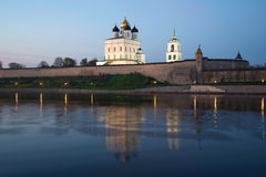 View of Trinity Cathedral and the Pskov Kremlin in twilight. Pskov, Russia Royalty Free Stock Photography