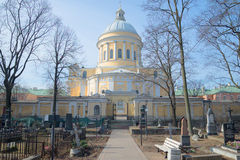 View of Trinity Cathedral spring day. Nikolskoe cemetery of Alexander Nevsky Lavra, Saint Petersburg Stock Photos