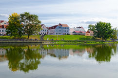 View of Trinity suburb on banks of Svisloch, Minsk, Belarus Stock Image