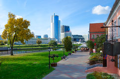 View of Trinity Suburb, business center Royal Plaza, Minsk, Bela Stock Images