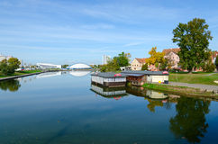 View of Trinity Suburb and Svisloch River, Minsk, Belarus Royalty Free Stock Photo