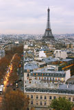View from the Triomphe arc in Paris. Stock Photography
