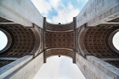 View of the Triumphal Arch from below in Paris Royalty Free Stock Images