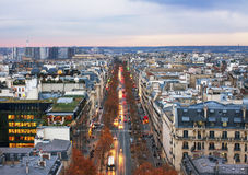 View from the Triumphe arc in Paris. Royalty Free Stock Photography