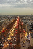 View from the Triumphe arc in Paris. Royalty Free Stock Photos