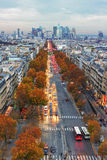 View from the Triumphe arc in Paris. Royalty Free Stock Images