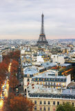 View from the Triumphe arc in Paris. Stock Photography