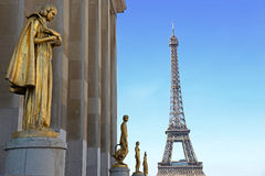View from Trocadero with golden statues on Eiffel tower, Paris.  Royalty Free Stock Photography