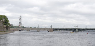 View of the Troitsky Bridge in St. Petersburg Royalty Free Stock Photo