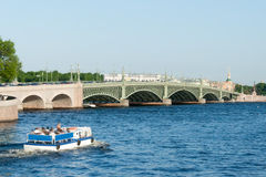 View of Troitsky Bridge in St. Petersburg in the summer day Royalty Free Stock Images