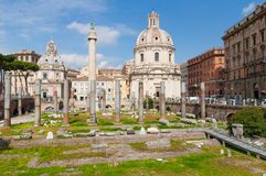 View on the Trojan Column and church, Rome. Royalty Free Stock Photography