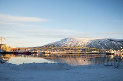 View of the Tromso bridge from the middle of the fjord Royalty Free Stock Photo