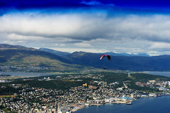 View on Tromso city with kite flyer background Royalty Free Stock Image