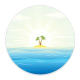 View of The Tropic Island from the Field Glass. Uninhabited Island. View from the Telescope or a Spyglass. Cartoon Vector illustration Royalty Free Stock Photo