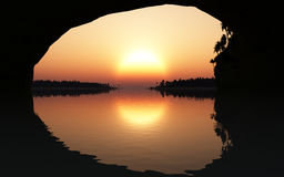 Tropic Sunset From Cave Stock Image
