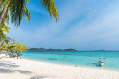 View of tropical beach on the island Malcapuya, Palawan royalty free stock photography