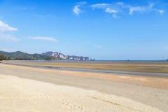 view of tropical beach during low tide in andaman sea at Ao Nang beach Krabi, Thailand. Royalty Free Stock Photos