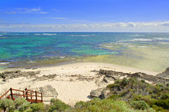 View on tropical beach and ocean in sunny day Stock Photos
