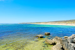 View on tropical beach and ocean in sunny day Royalty Free Stock Image