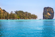 View of tropical beach of Poda island is popular tourist in the Andaman sea. Krabi Thailand Royalty Free Stock Photos