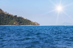 View of the tropical beach on small limestone island in andaman sea. At krabi thailand Royalty Free Stock Photos