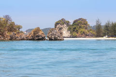 View of the tropical beach on small limestone island in andaman sea Stock Images