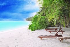 View of tropical beach with sun loungers. On summer day stock photo