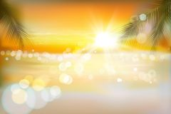 View of a tropical beach. Sunrise. Vector Illustration. Royalty Free Stock Images
