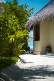 View of a Tropical Beach Villa and a Corner of Vegetation in a T Royalty Free Stock Photo