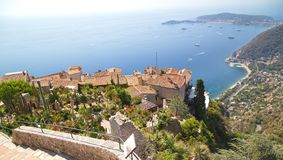 View of tropical garden in the town of Eze Stock Photos