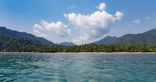 View of the tropical island from the sea Royalty Free Stock Images