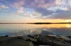 View of a tropical lagoon at dusk at Kasairinkai park Royalty Free Stock Images