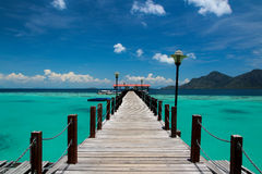 Wooden pier at paradise island Royalty Free Stock Images