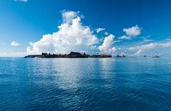 A view of tropical resort of Kapalai. In the middle of sea celebes ocean Royalty Free Stock Photo