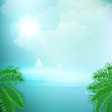 View of tropical sea between the palm trees under. Blue sky. Vector illustration. EPS 10 Stock Photo