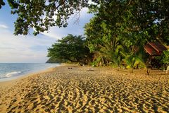 View on tropical white sand beach, Ko Chang, Thailand. View on tropical white sand beach with green palm trees stock images
