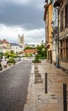 View of Troyes Cathedral from historic medieval centre of Troyes with half timbered buildings. In Troyes, Aube, France on 31 August 2018 royalty free stock photography