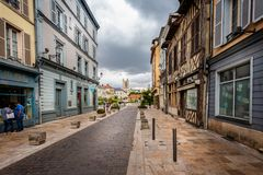 View of Troyes Cathedral from historic medieval centre of Troyes with half timbered buildings. In Troyes, Aube, France on 31 August 2018 stock photos
