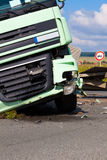 A view of truck on an highway in an accident Royalty Free Stock Images