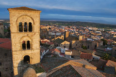 View of Trujillo (Spain) from a castle. View of Trujillo with the romaic church tower (XIII century) in the front and the lower city in the background Stock Image
