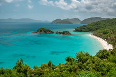View of Trunk Bay on St. John. A shot of the famous Trunk Bay and the snorkeling trail in the Virgin Islands National Park royalty free stock photos