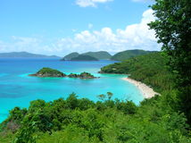 View of Trunk Bay in US Virgin Islands. stock photos