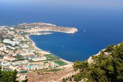 View from Tsambika mountain to the coastline of Rhode. View from Tsambika mountain to the coastline of Rhodes, Greece royalty free stock images