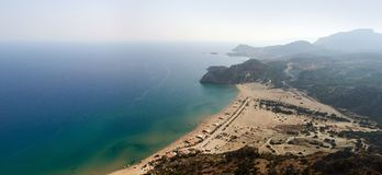View from Tsambika mountain to the Mediterranean coast of Rhodes island. Greece royalty free stock images