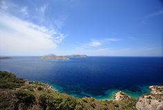 View of Tsambou beach with azure sea water island Greece Royalty Free Stock Images