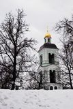 View of Tsaritsyno park in Moscow. Church seen through the trees Royalty Free Stock Image