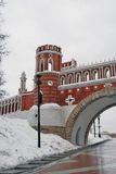 View of Tsaritsyno park in Moscow. Figured bridge Royalty Free Stock Photo