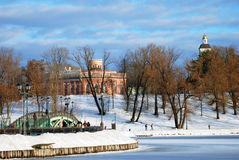 View of Tsaritsyno park in Moscow. Frozen pond. Stock Photos