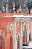 View of Tsaritsyno park in Moscow. Old bridge made of red bricks. Stock Photography