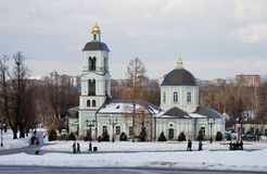 View of Tsaritsyno park in Moscow. Old orthodox church. Royalty Free Stock Photography